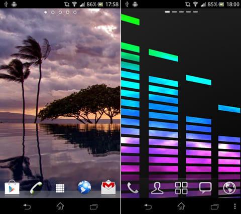 クールな壁紙HD:「Nature」で検索した壁紙(左)「Color」で検索した壁紙(右)