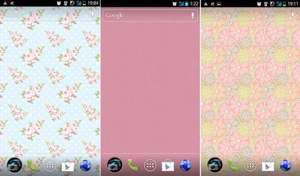 Pattern Wallpapers:「floral」(左)「Pi(n)kkle」(中)「Pink Grapefruit」(右)