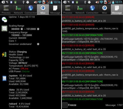 OS Monitor:CPUやバッテリーの状態(左)警告やアプリの動作ログ(右)