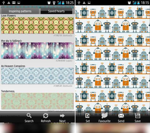 Pattern Wallpapers:「Search」から絞り込みが可能(左)個々の画像は端末に保存したり、壁紙に設定できる(右)