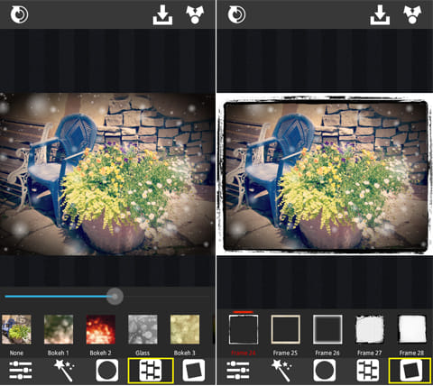 XnRetro:エフェクト加工画面(左)フレーム作成画面(右)