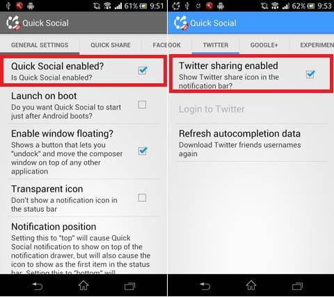 Quick Social (DEMO):「Quick Social enabled?」にチェックを入れる(左)各SNSへログイン(右)