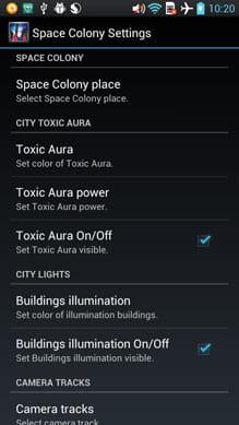Space Colony:設定画面