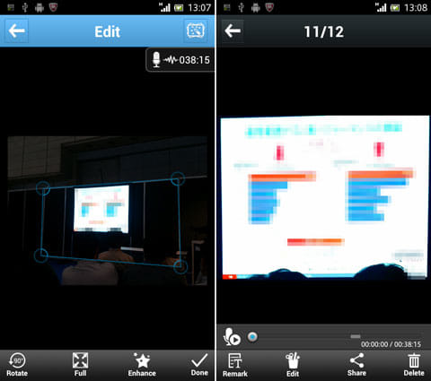 ArcNote:実際の撮影風景(左)左の写真をここまで補正できる(右)