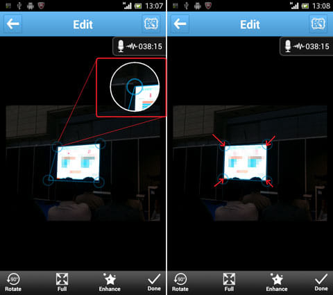 ArcNote:便利な拡大スコープ(左)四隅をきっちりあわせよう(右)