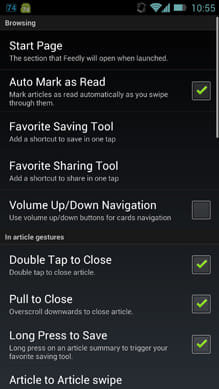 Feedly. Google Reader News RSS:「Advanced Settings」画面