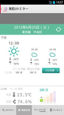 美肌UVミラー by @cosme × docomo:「美肌天気」画面