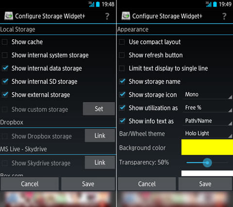 Storage Widget+:設定画面。チェックを入れるだけでOK。「Appearance」ではデザインをカスタマイズできる