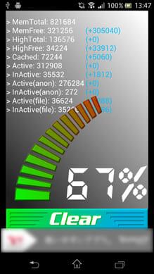 バッテリー長持ちPro(高性能メモリ解放):数字が高いほど、端末のサクサク度が高くなる