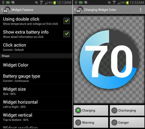 Battery Widget:ウィジェットの色やフォントなど細かな設定が可能