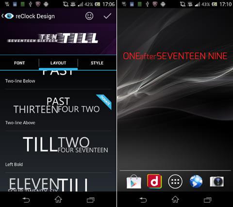 reClock: Text Clock Widget:設定画面。「DONATE」と表示されたFONT等を使用したい場合は有料となる(左)文字の色も変更可能(右)