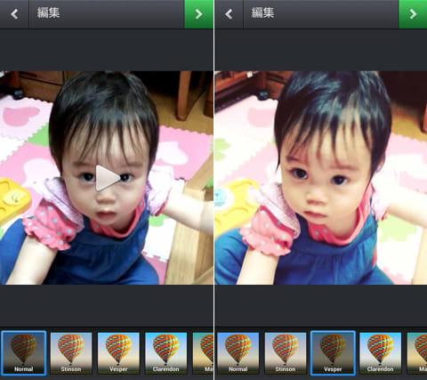 Instagram:静止画同様に動画にもフィルタをかけることができる
