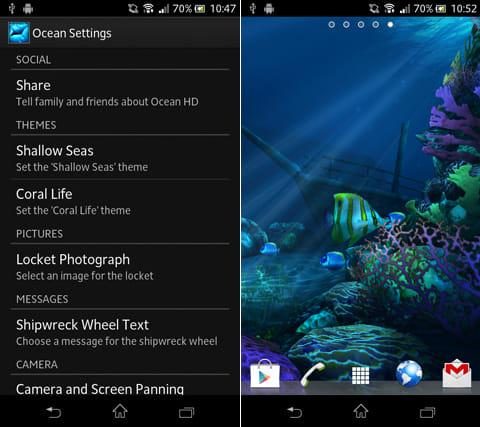 Ocean HD:設定画面(左)ダイナミックに変化する海底(右)