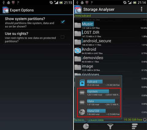 Storage Analyser:「Show system partitions?」にチェックを入れる(左)システム関連のストレージが表示(右)