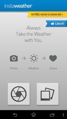 InstaWeather:起動画面。写真を撮影または画像を選択