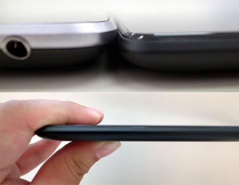 本体の薄さを比較。左から「Nexus 7(2012)」、「Nexus 7(2013)」(上)厚さは8.65mm。9mmを切っている(下)