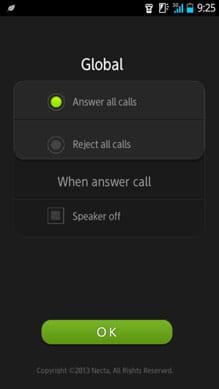Air Call-Accept:設定画面