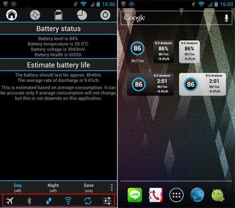 バッテリードレインアナライザモニター:「Battery status」画面下部のトグルボタン(左)ウィジェットは全部で5種類(右)