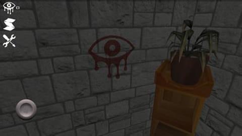 Eyes - the horror game:この不気味な目の印をタッチすると特殊能力が使用できる