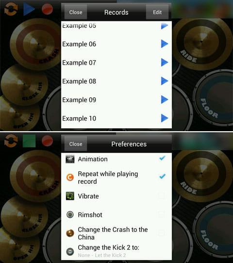 ドラムセット(Real Drum):デフォルトで終了されている音源のセット(上)ドラムセットの設定画面(下)