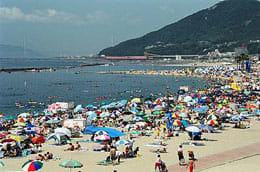 阪神間で最大の須磨海水浴場