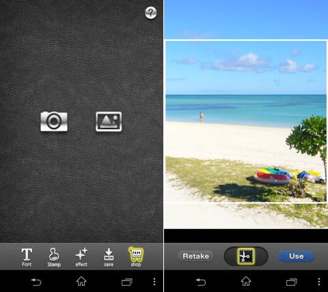 FontCam (フォントカム)写真加工カメラアプリ:写真選択画面(左)トリミングも可能(右)