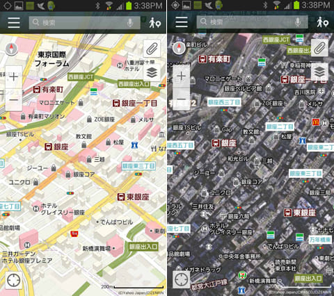 Yahoo!地図:バードビュー表示(左)航空写真表示(右)