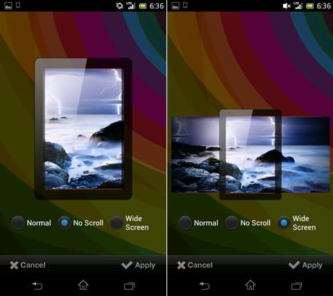 スクリーン改造計画のウィジェット:画像のサイズを指定(左)設置した壁紙のスクロールイメージを確認できる(右)