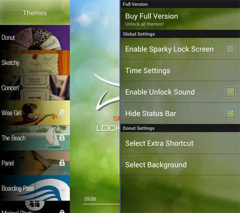 Sparky Lock Screen Lite:テーマの一覧(左)アプリの設定画面(右)