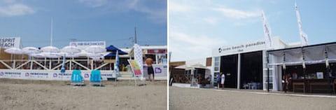 充電器を完備している海の家「FOX BEACH HOUSE」(左)「avex beach paradise powered by UULA」(右)