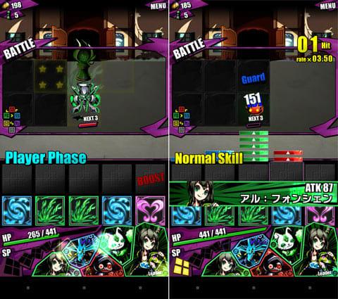 ディバインゲート:バトル画面(左)マスの中に配置したパネルの数だけ攻撃の効果も変わる(右)