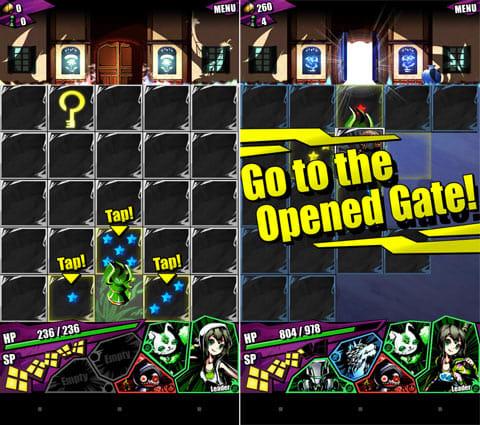 ディバインゲート:クエスト画面。行きたいパネルをタップする(左)鍵をゲットすると扉が開く(右)