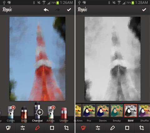 Repix:まるで木炭画のようなブラシ「Charcoal」(左)白黒にするとさらに質感が増す(右)
