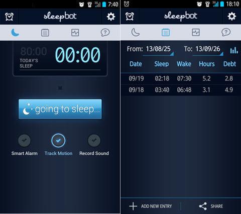 SleepBot - Sleep Cycle Alarm:アラーム設定やログを記録できる(左)理想の睡眠時間との差(Dept)がわかる(右)