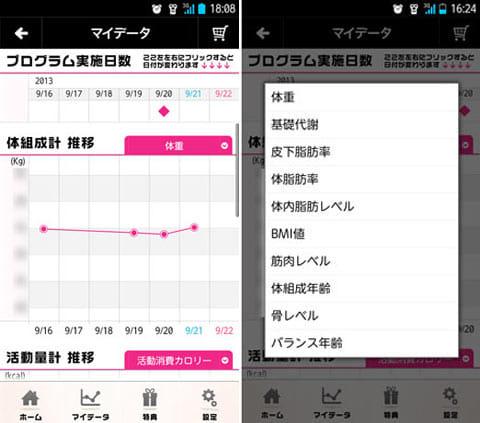 adidas × Panasonic トレーニングアプリ:かざすだけで体重をはじめとした計測データをグラフで管理できる