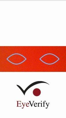 Tap here to start EyeVerify:登録時と同じように左右を見てロックを解除