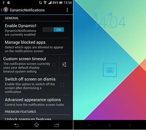 DynamicNotifications:「設定」画面(左)背景画像やアイコンの形、色を変更できる(右)