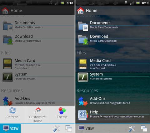 File Explorer:「VIEW」アイコンをタップ(左)「Theme」から「Translucent Light」を選択し背景を変更(右)