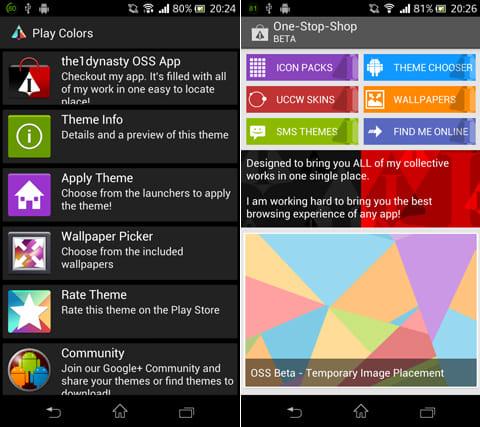 Play Colors - Icon Pack:壁紙は「Wallpaper Picker」から設定(左)「the 1 dynasty OSS APP」からアイコンデザイン等のダウンロードが可能(右)