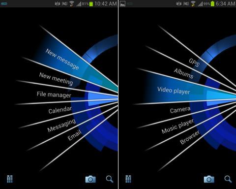 Splay Launcher:「Diary」はメール、SMS、カレンダーなどを利用できる(左)「Media」はカメラ、音楽等が利用できる(右)