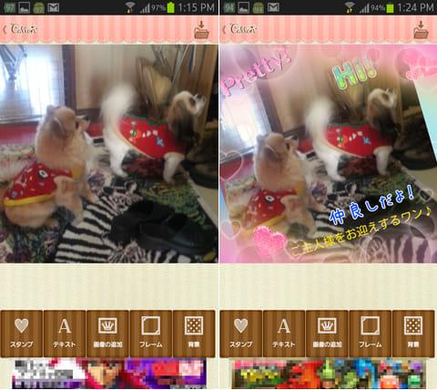 コラージュで簡単スタンプ作成・Collon(コロン):写真選択画面(左)コラージュ後の写真(右)