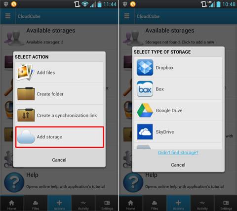 CloudCube:「Add strage」を選択してクラウドサービス一覧へ(左)利用できるクラウドサービスは11種類(右)