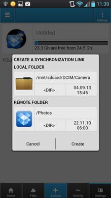 CloudCube:端末内のフォルダとの同期設定ができる