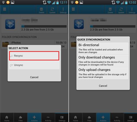 CloudCube:同期方法の設定画面(左)同期方法は3種類(右)