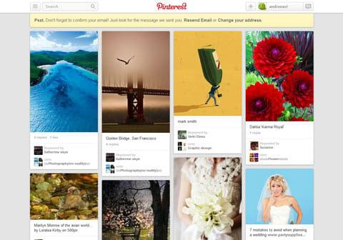 「Pinterest」は、美しいデザインで女性を中心に人気