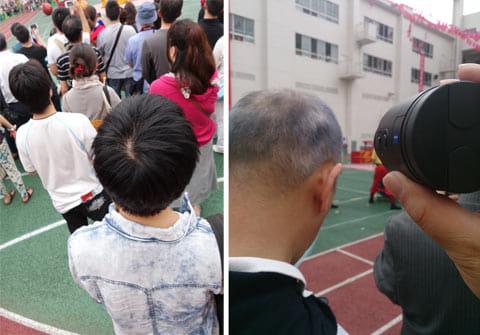 高い位置からの撮影にも便利(左)人の隙間を縫って撮影(右)