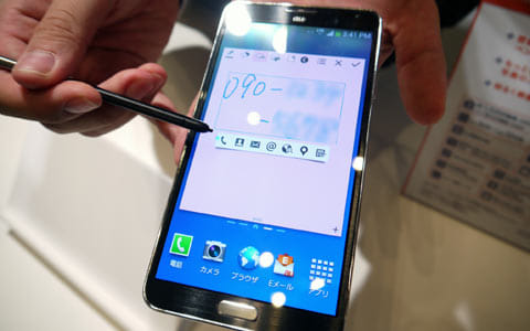 「GALAXY Note 3 SCL22」。手書きの電話番号で発信できる!