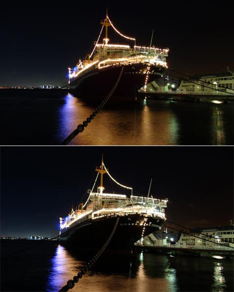同じアングルで撮影した画像。「QX10」(上)「QX100」(下)