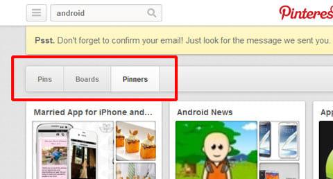 画像、ボード、ユーザに検索対象を絞れる
