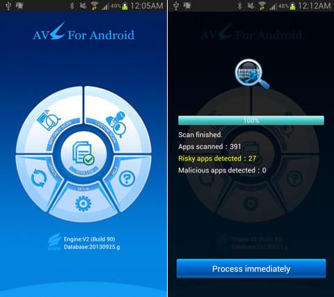 AVL:「APP-ONLY SCAN」からウィルススキャン(左)「Risky apps」等、危険度によってアプリを分類(右)